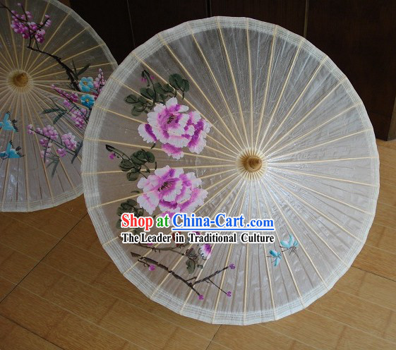 Traditional Chinese Hand Beach, Rain And Sun Umbrella   Large Peony Painting