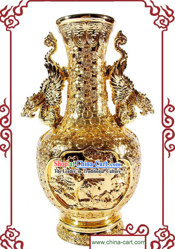 Kai Guang Feng Shui Chinese Golding Dragon and Phoenix Vase (keeping love couple)
