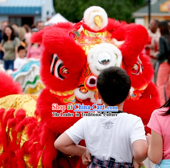 Top Chinese New Year Red Supreme Grand Opening and Happy Celebration Red Lion Dance Costume Complete Set