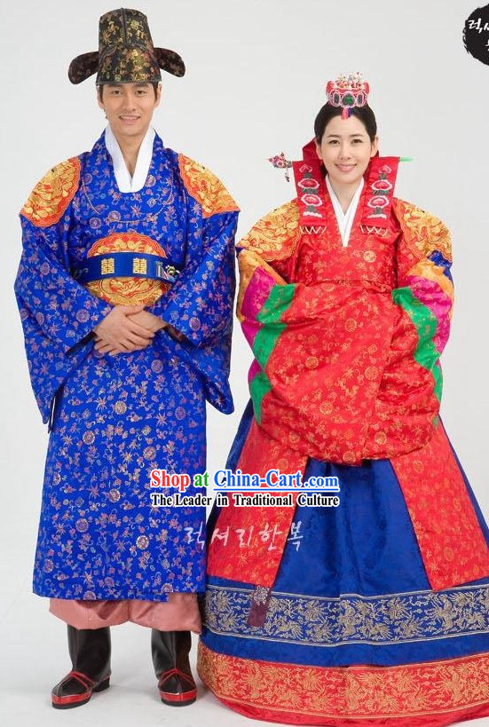Traditional Korean Wedding Hanbok for Bride and Bridegroom
