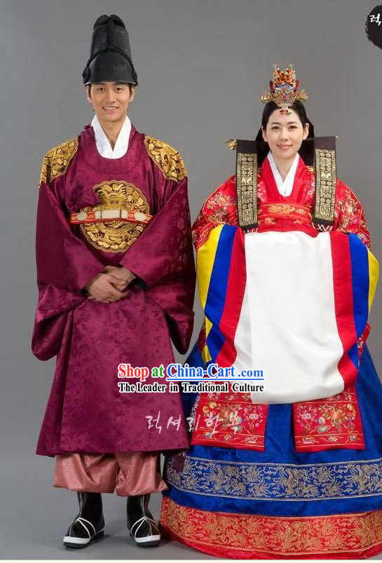 Ancient Korean Wedding Costumes Bride and Bridegroom 2 Complete Sets