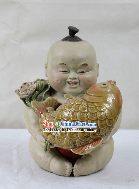 Feng Shui Fish and Chinese Baby Shiwan Ceramic Figurine