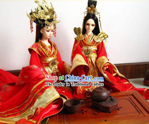 Ancient Chinese Wedding Dresses and Hair Accessories Two Complete Sets for Brides and Bridegrooms