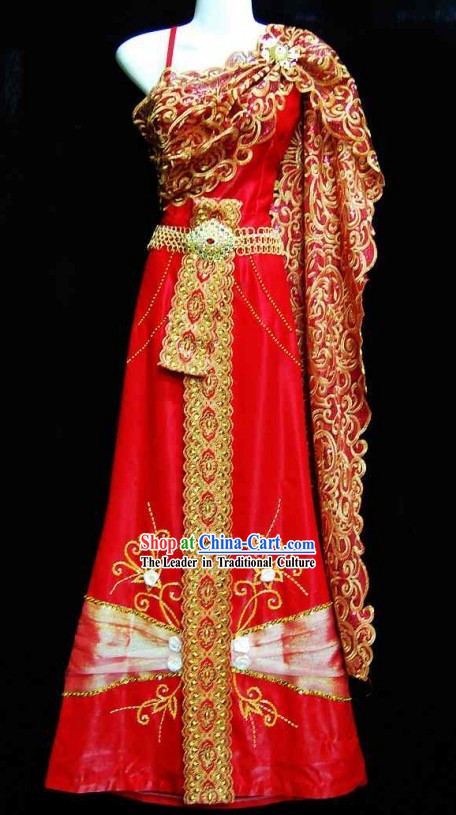 Traditional Thailand Wedding Dress for Bride