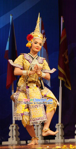 Asian Thailand Dance Costume Complete Set