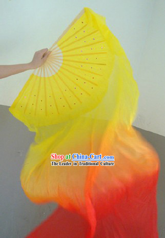Chinese Silk Flame Color Transition Dance Fan