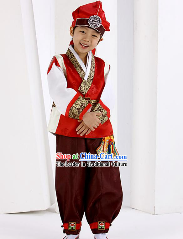 Traditional Korean Red Birthday Hanbok for Boys