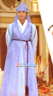 Ancient Korean Hanbok Dresses and Hat Complete Set for Men