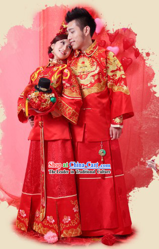 Supreme Chinese Wedding Dresses Complete Set for Brides and Bridegrooms