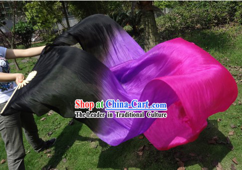 Long Silk Colour Transition Chinese Dance Fan