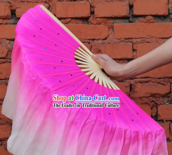 Double Sides Pink to White Color Transition Silk Dance Fan
