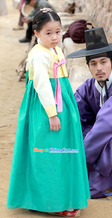 Ancient Korean Hanbok Costumes and Headwear for Kids