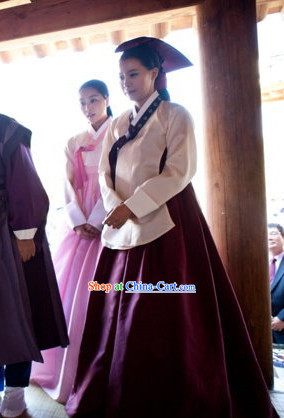 Korean Traditional Palace Female Official Clothes and Headwear Complete Set