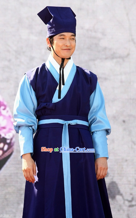 Korean Traditional Young Man Clothes and Fabric Hat
