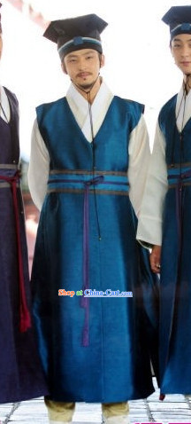 Traditional Korean National Costumes and Hat for Men