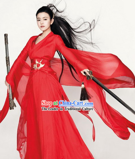 Ancient Chinese Swordswoman Red Outfit for Women
