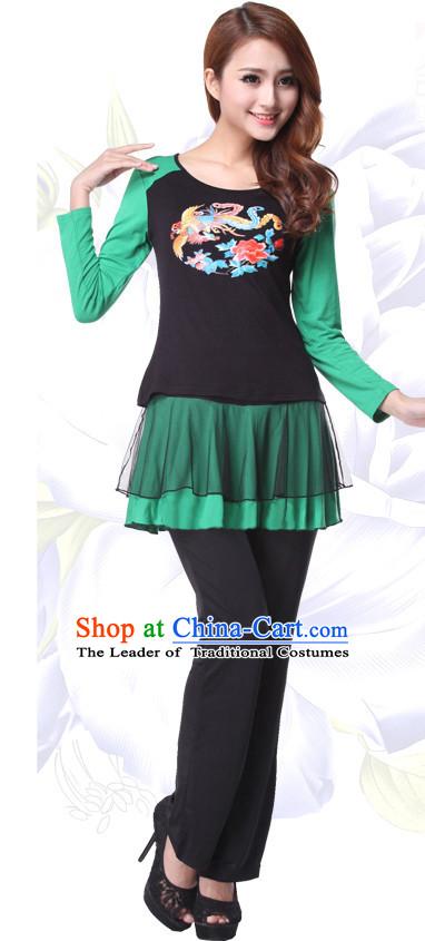 f64c64802edf Asia Chinese Festival Parade Folk Dance Costume School Uniforms Leotards Gym  Uniform for Women
