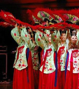 Korean Fan Dance Costumes and Headwear for Women