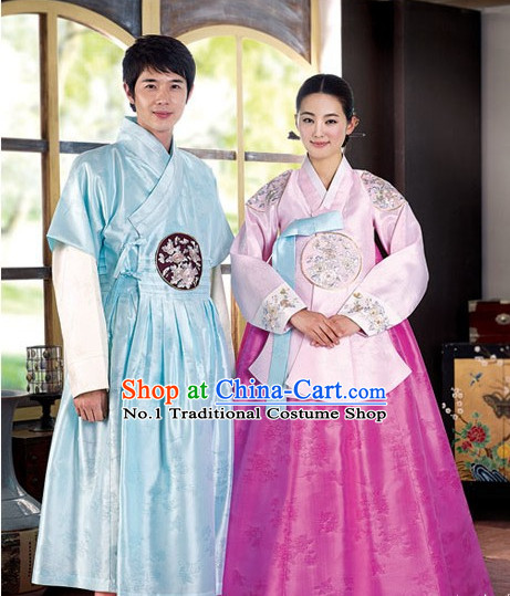 Korean Brides and Bridegrooms Wedding Dresses Complete Set for Men and Women