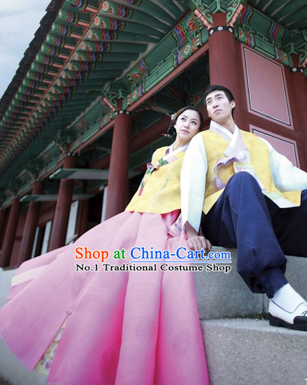 Korean Bridal Wedding Dresses 2 Complete Sets for Brides and Bridegrooms