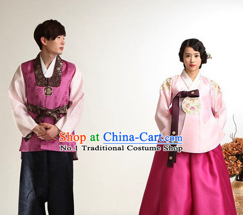 Korean Bridal Wedding Dress 2 Complete Sets for Brides and Bridegrooms