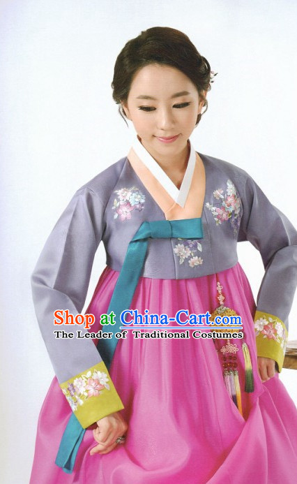 Korean Fashion Custom Made Hanbok and Hair Accessories Complete Set for Ladies