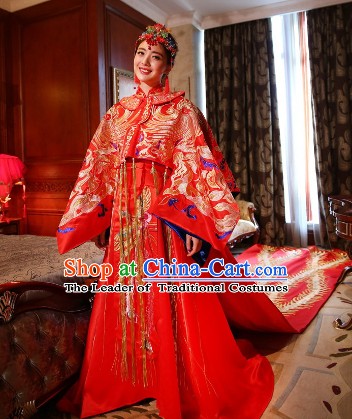 Long Tail Traditional Chinese Wedding Brides Dresses and Hair Accessories Complete Set