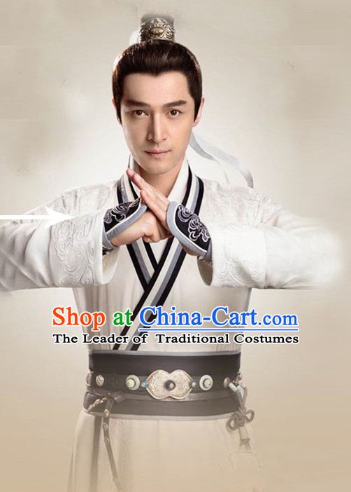 Ancient Chinese Hero Costumes Swordsman Hanfu Clothing Complete Set for Men and Teenagers