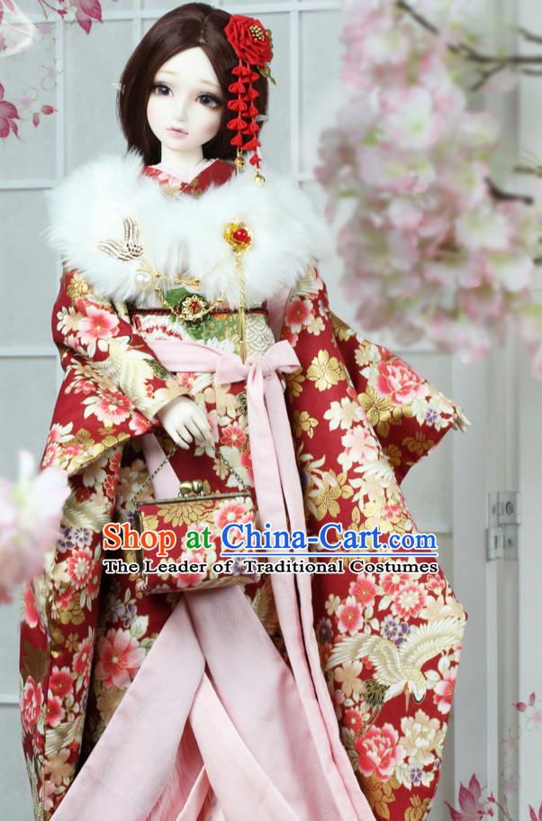 Traditional Japanese Princess Silk Kimono Set