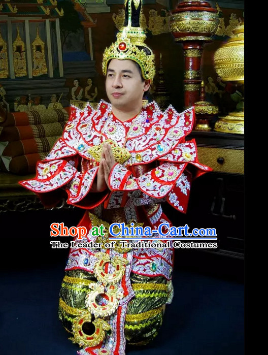 Top Traditional National Thai Empeoror Costumes Garment Dress Thai Traditional Dress Dresses Wedding Dress Complete Set for Men Boys Youth Kids Adults