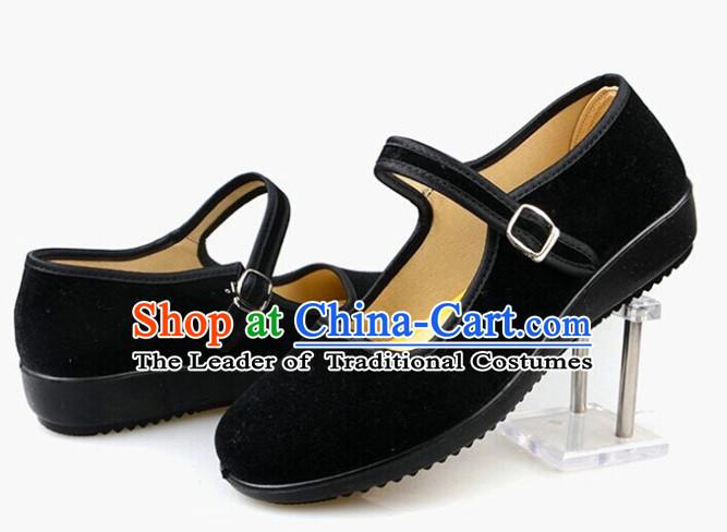 plain black traditonnal cotton chinese shoes