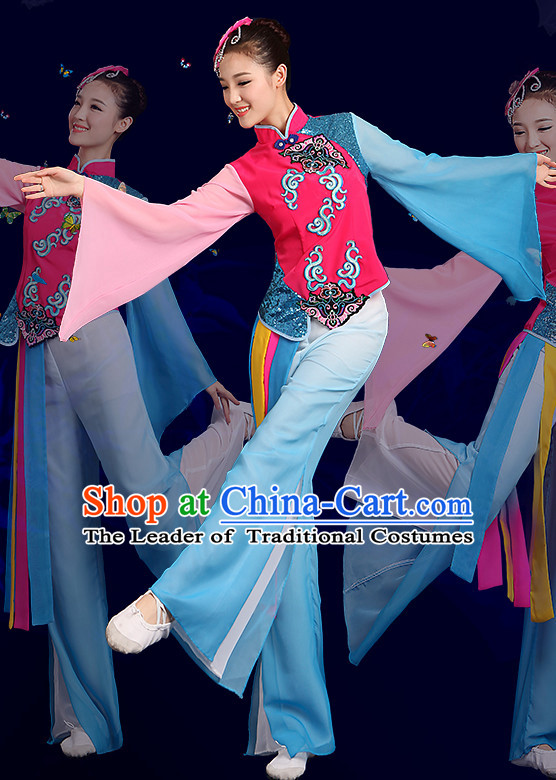 f96b050ad Chinese Fan Dance Costumes and Headpiece