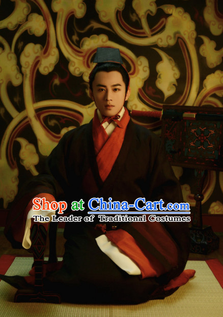 f39df6346af Chinese Ancient Han Dynasty Men Clothing and Hat Complete Set