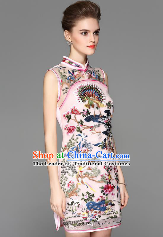 e5b8bf4dd2 Asian Chinese Oriental Costumes Classical Palace Embroidery Pink Cheongsam