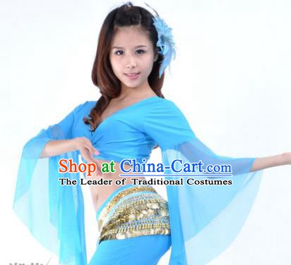 96a9eb93063c Indian Oriental Dance Belly Dance Costume Upper Outer Garment India Raks  Sharki Blue Blouse for Women