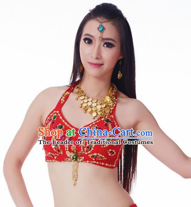 da9d11d9f111 Indian Belly Dance Red Brassiere Upper Outer Garment Asian India Oriental  Dance Costume for Women