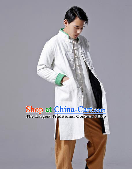 Chinese Traditional Costume Tang Suit White Overcoat National Mandarin Dust Coat for Men