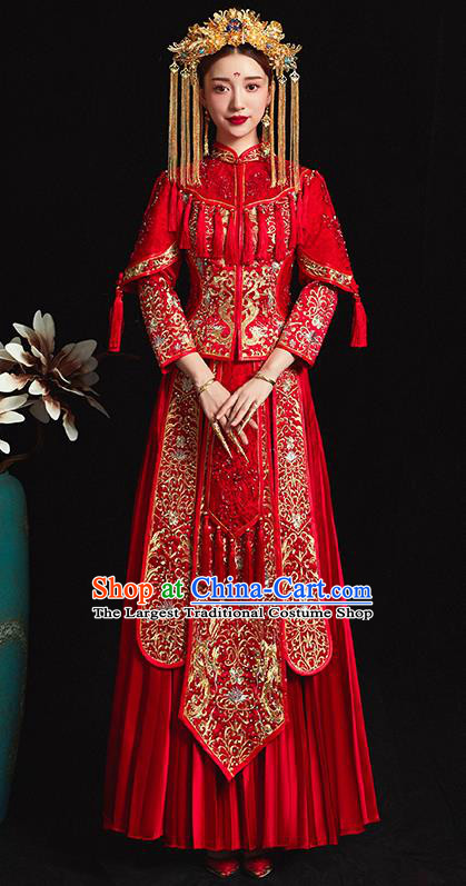 0ba136ff1b Chinese Traditional Bride Costume Embroidered Xiuhe Suit Ancient Wedding  Red Dress for Women